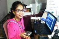 Anna Martinez with digital book