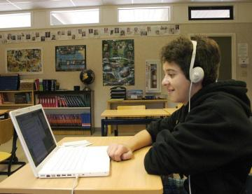 Student with headphones.