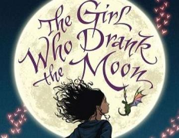 Book cover for The Girl Who Drank the Moon: a girl standing and facing the moon