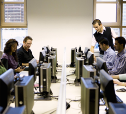 Support team at computer stations