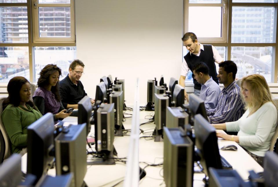 Adults in a computer lab