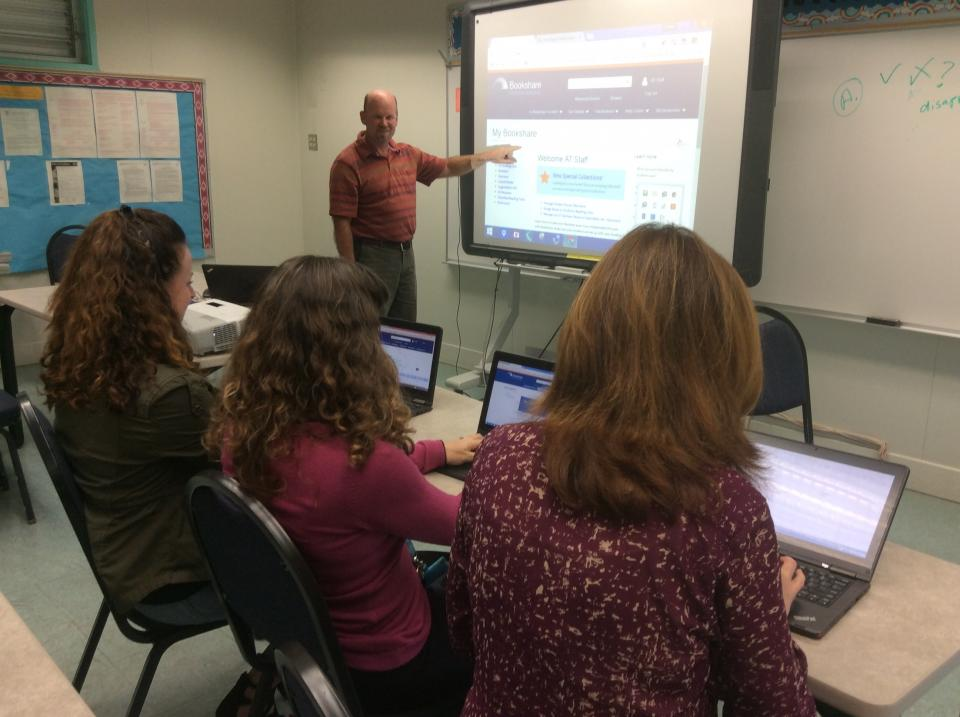 Corey Straily, AT Specialist, trains San Diego Unified School District teachers on Bookshare