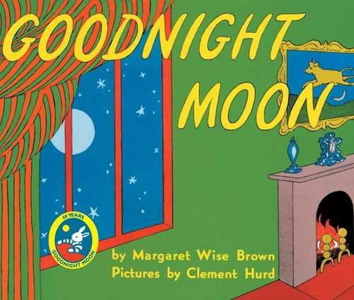 Collection sample book Goodnight Moon, green wall with lit fireplace and window looking out at the moon