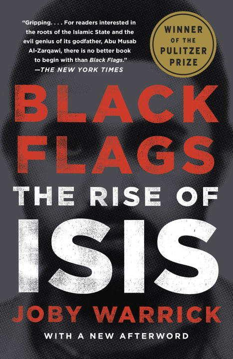 Collection sample book cover Black Flags the Rise of ISIS, black cover with a shadowed face behind the text