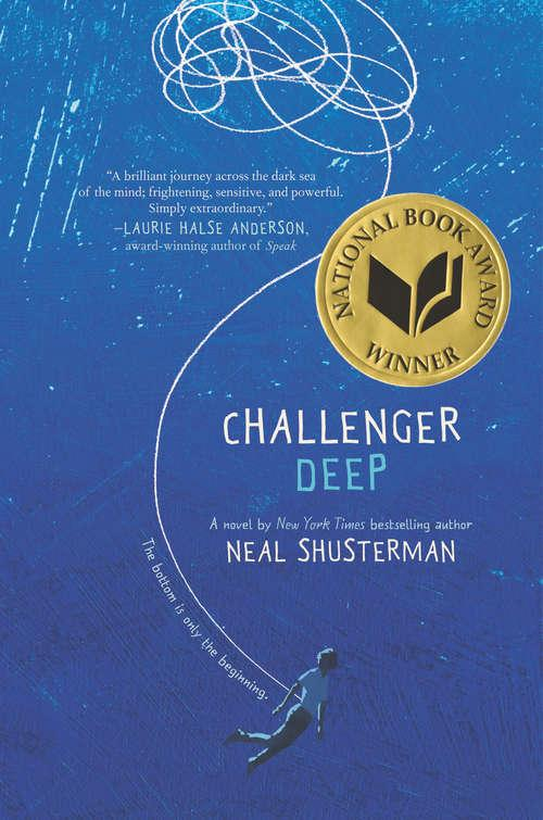 Collection sample book cover Challenger Deep, painted blue background with a white line twisting and pointing to a small man