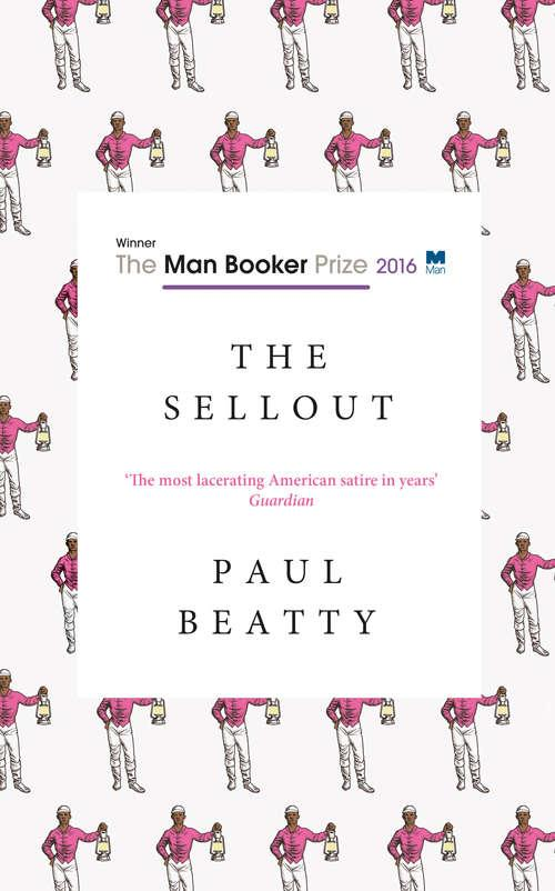 Collection sample book cover The Sellout, pattern of cartoon men wearing pink shirts and white pants