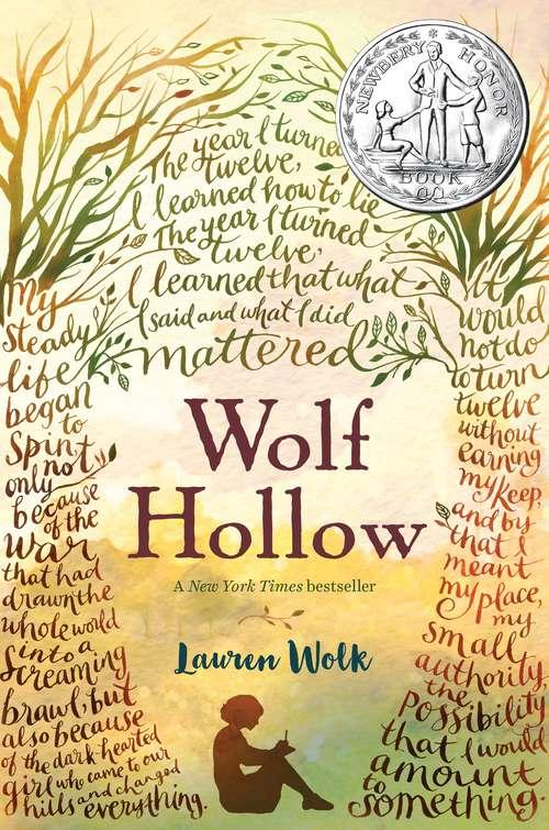 Collection sample book cover Wolf Hollow, woman sitting and writing between two trees made out of words