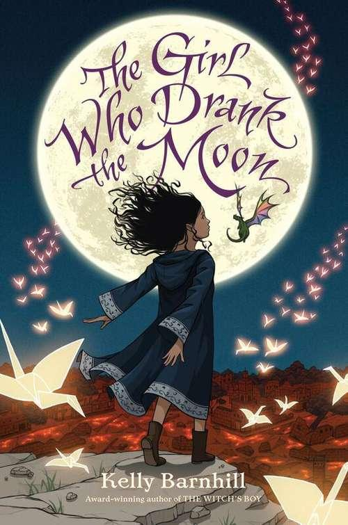 Collection sample book cover The Girl Who Drank the Moon, girl standing in field looking up at the moon