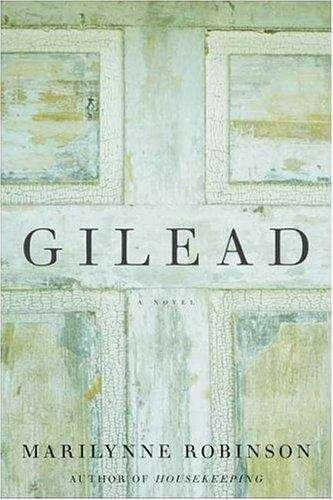 Collection sample book cover Gilead, close up painting of a wooden door