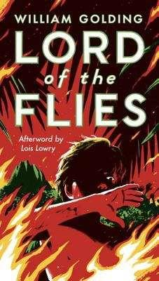 Collection sample book cover Lord of the Flies, man being burned by fire on an island