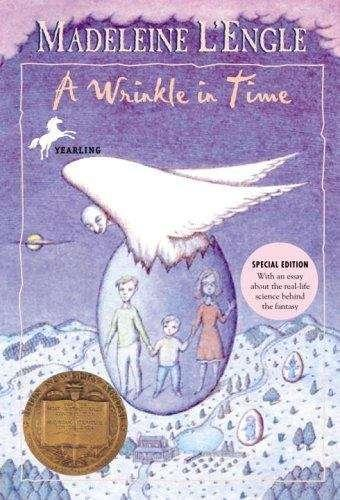 Collection sample book cover A Wrinkle in Time, a family in an egg with wings hatching out