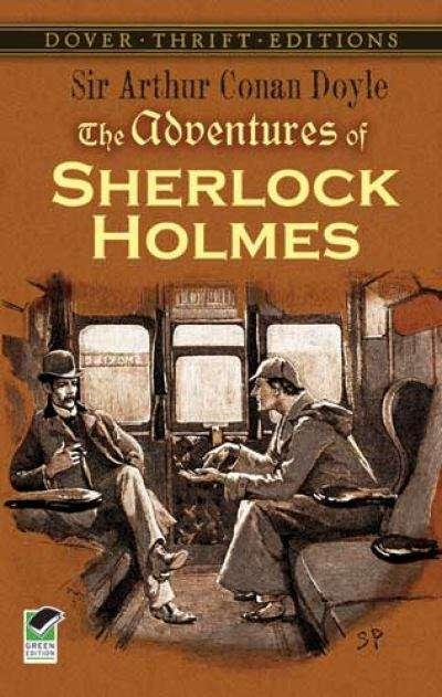 Collection sample book cover The Adventures of Sherlock Holmes, two men sitting in a train car