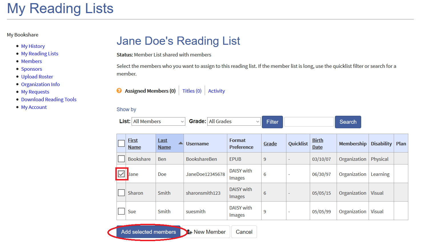 Screenshot of adding a member to a Reading List