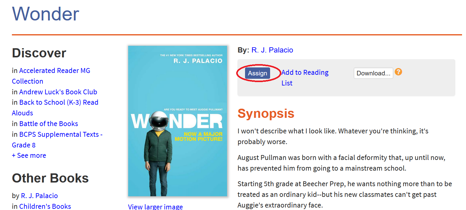 Screenshot of book detail page with the Assign button circled