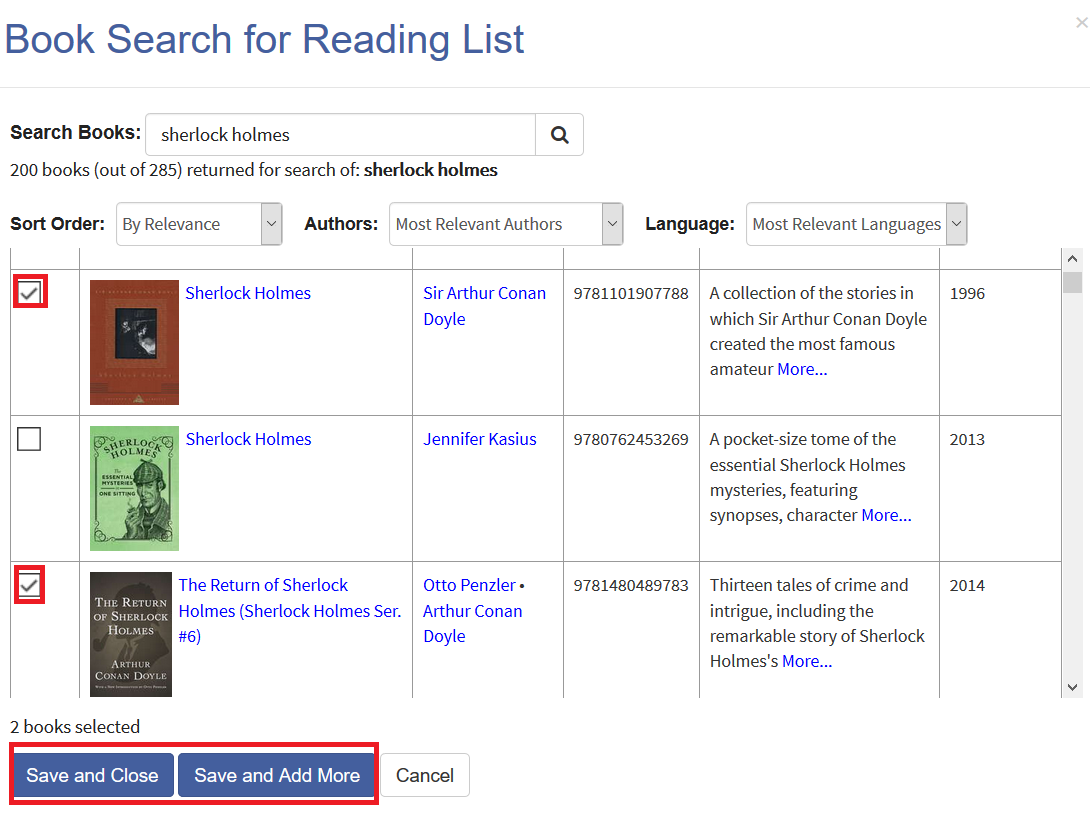 Screenshot of book search for adding books to reading list