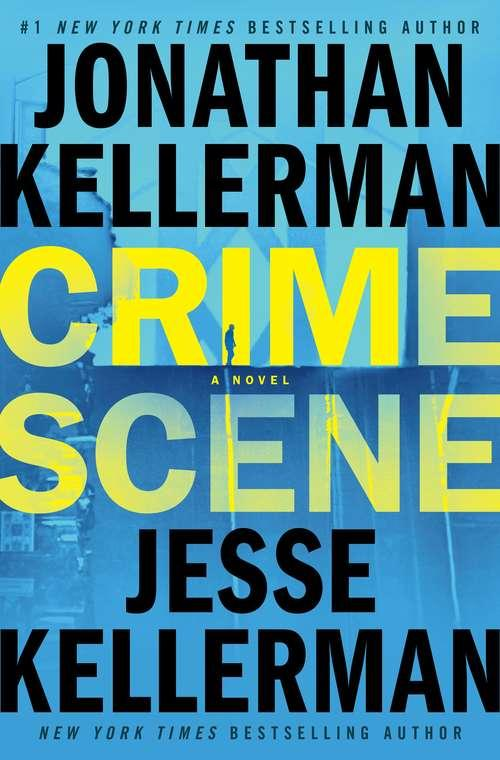 Collection sample book cover Crime Scene, big yellow typeface on blue background