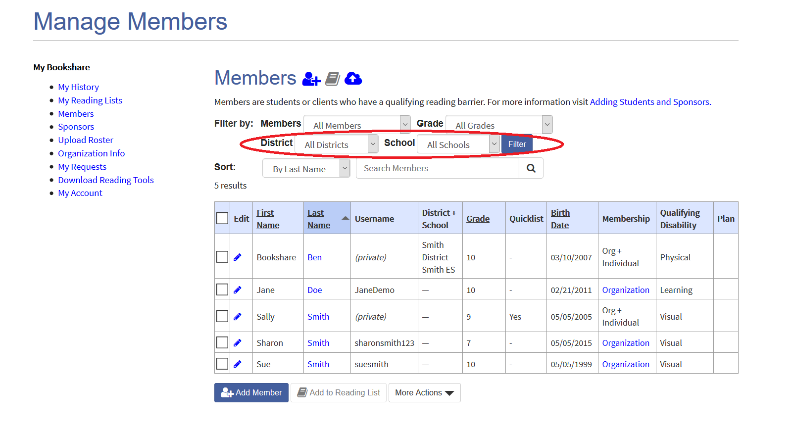 Screenshot of member roster with district and school filter options circled