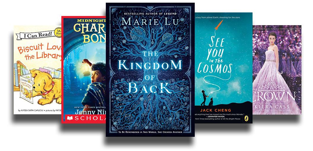 Book covers of Biscuit loves the library, Kingdom of Back, See you in the cosmos, The Crown, and Charlie Bone.