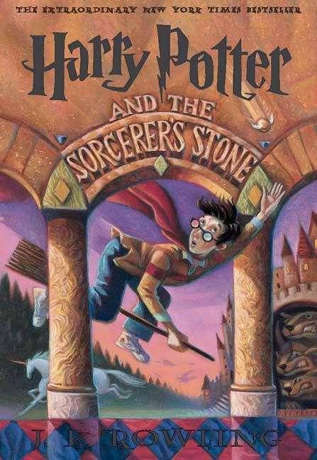 Collection sample book cover Harry Potter an the Sorcerer's Stone, boy wizard on a broom trying to catch a snitch