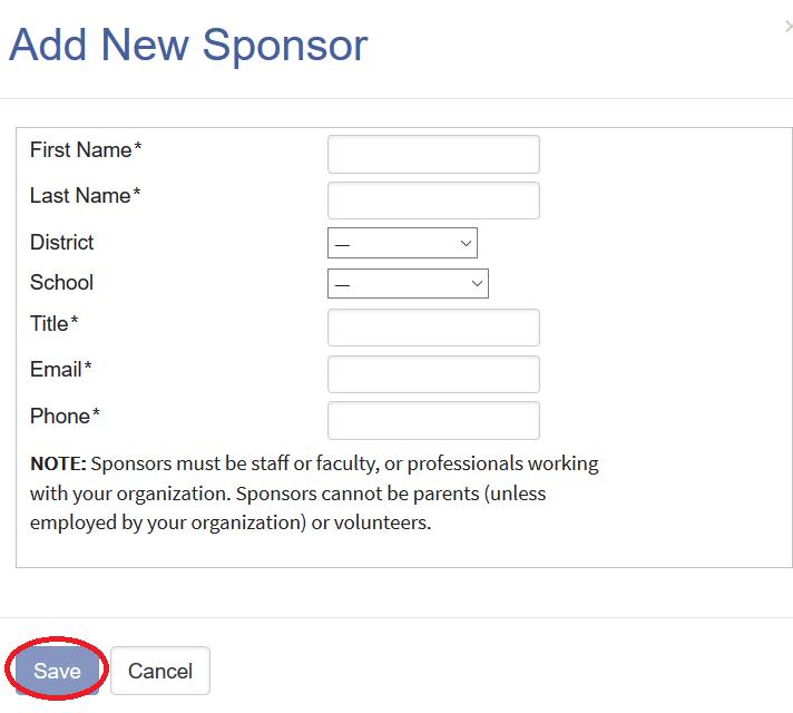 Screenshot of add new sponsor pop up box where new sponsor information is entered.