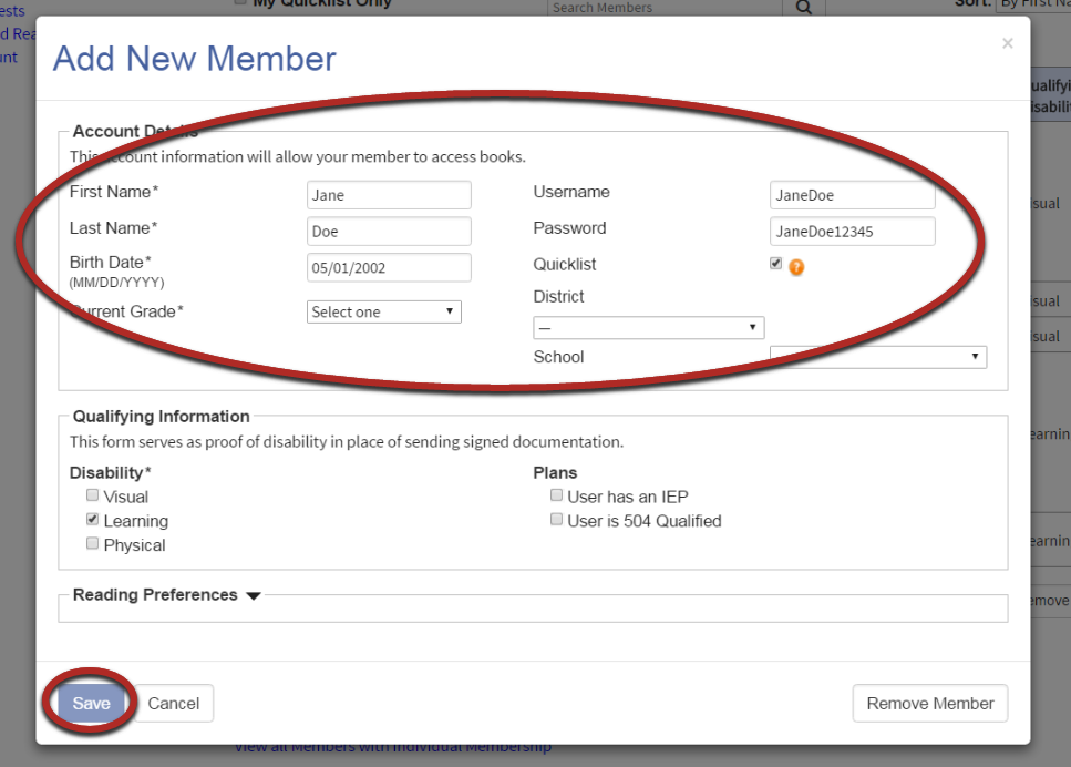 Add new member window with the account details form circled