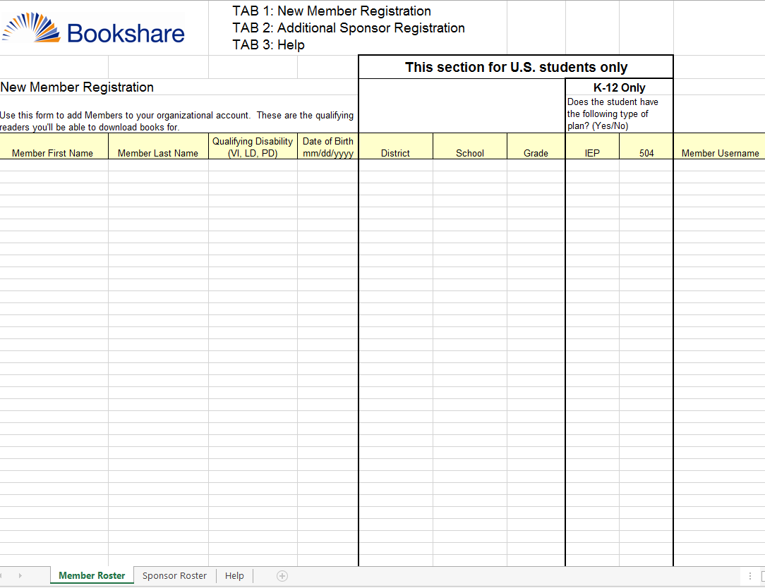 Bookshare spreadsheet template