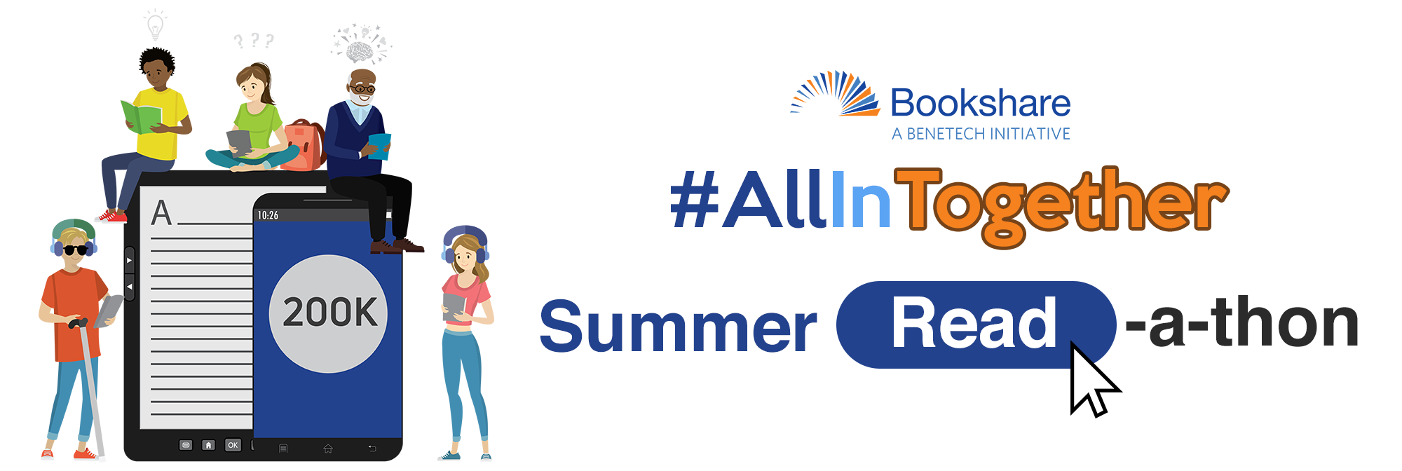 All in Together Summer Read-a-thon banner with illustration of Bookshare members reading ebooks.