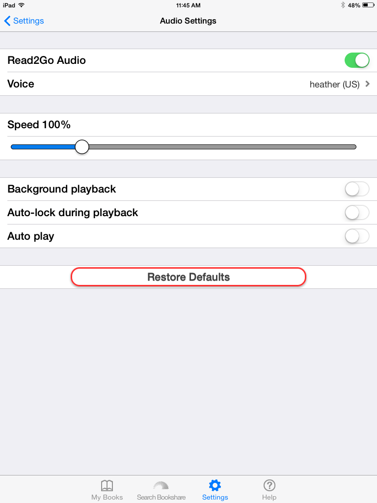Screenshot of Audio Settings: Read2Go Audio, Voice, Speed, Background playback, Auto-lock playback, Auto-lock during playback, Auto play, and Restore Defaults.