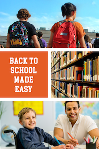 Back to School Made Easy with image collage of students walking and student with teacher
