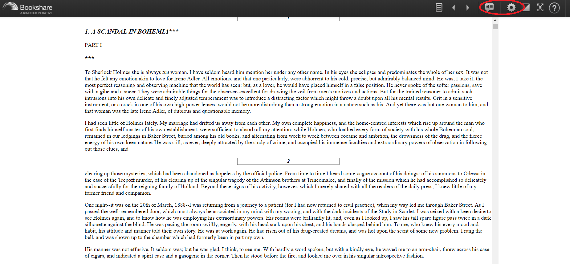 Screenshot of book in Bookshare Web Reader with speaker icon and settings icon called out