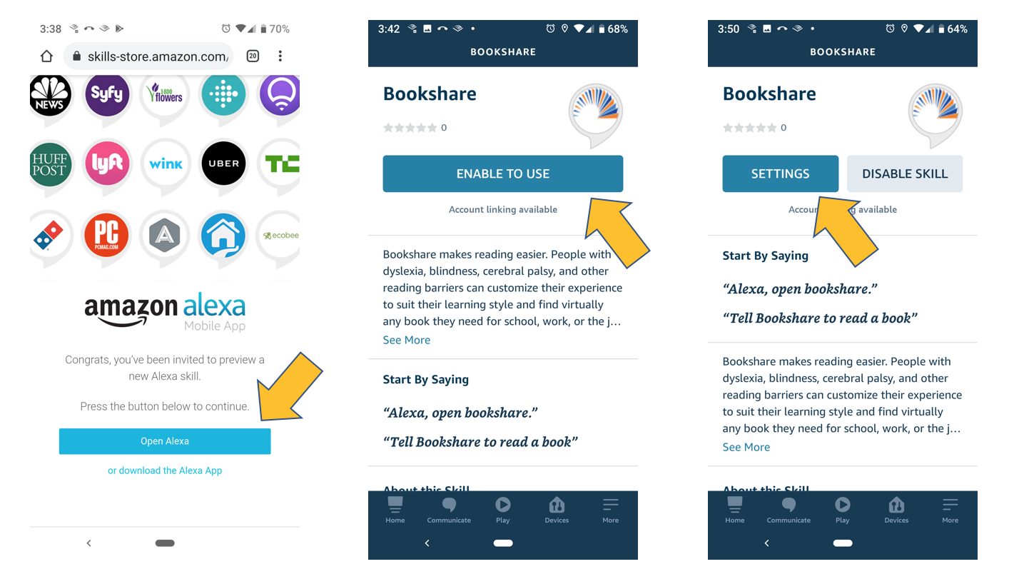 Screenshots showing opening the beta skill in the Alexa app, the enable page and the settings page.