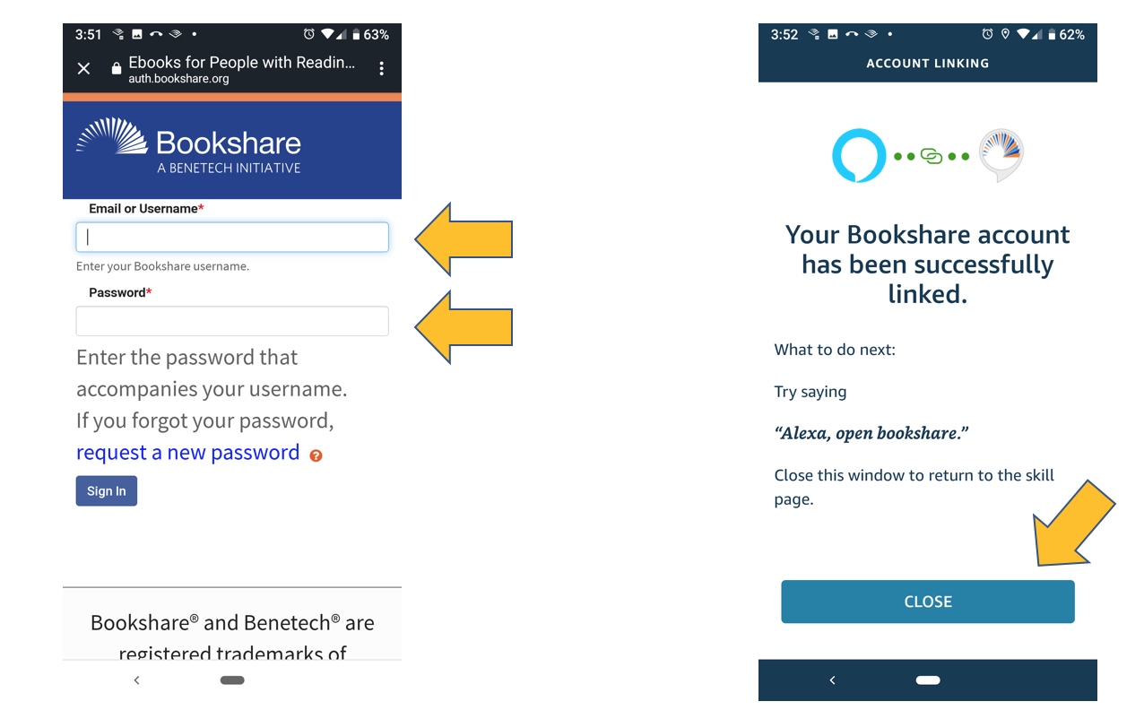 Screenshot of Bookshare login page