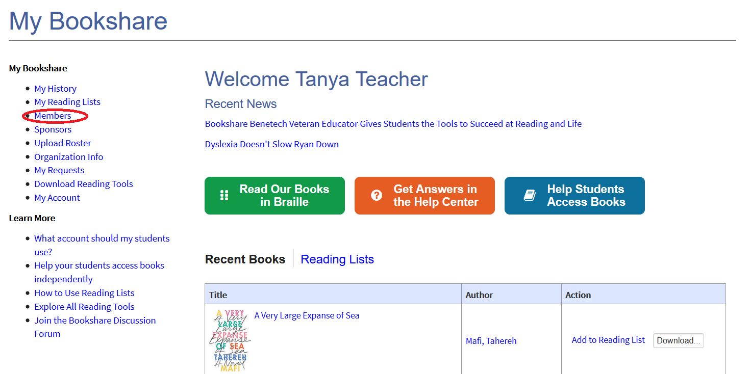 Screenshot of My Bookshare page with red circle over Members link on left column