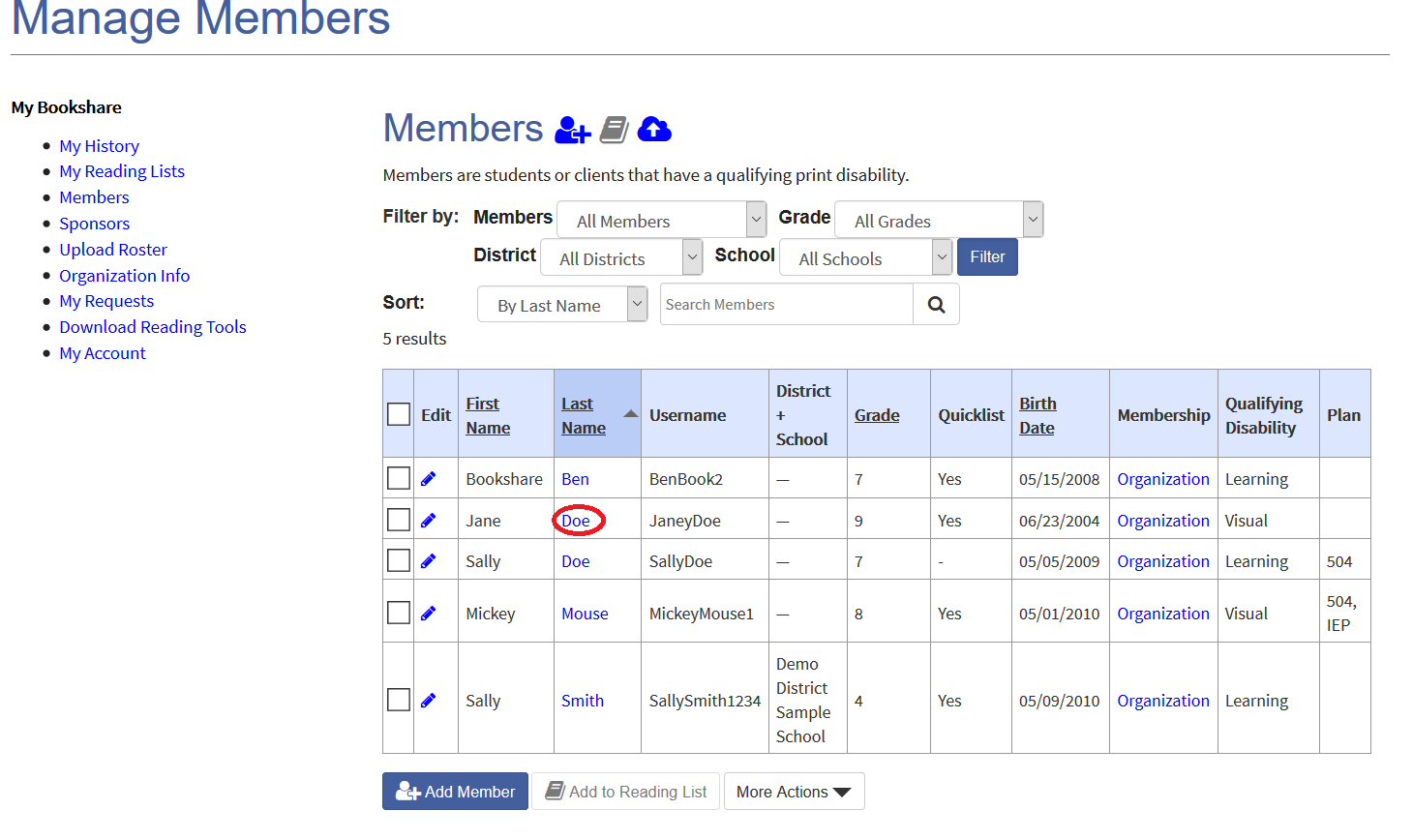 Manage Members page with red circle over a member's last name