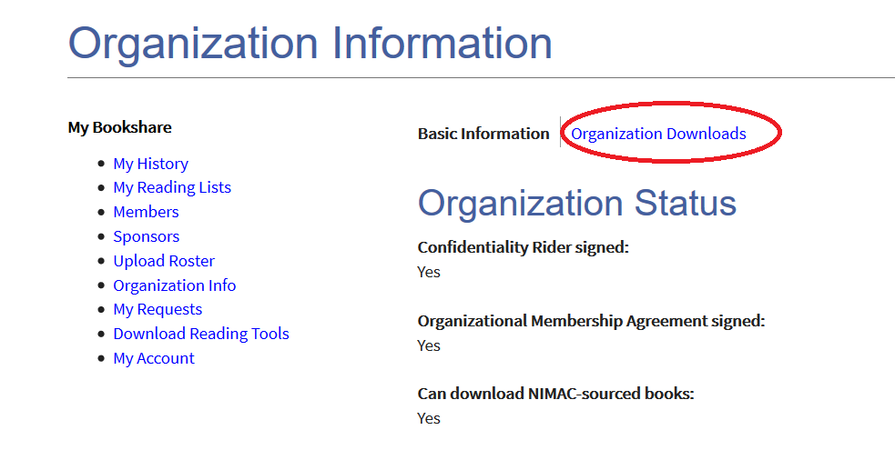 Organization information page with link to Organization Downloads circled