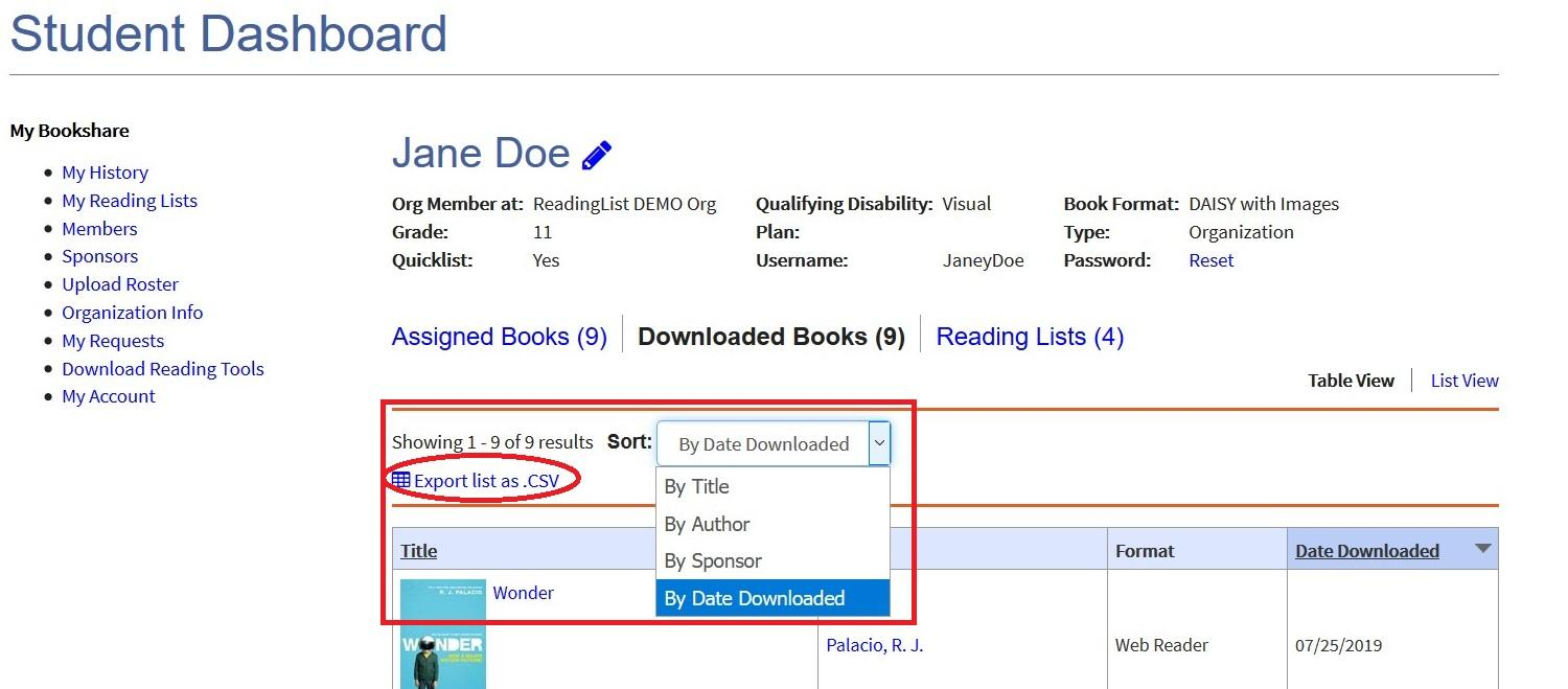 Screenshot of Member Dashboard with Download Report Link circled