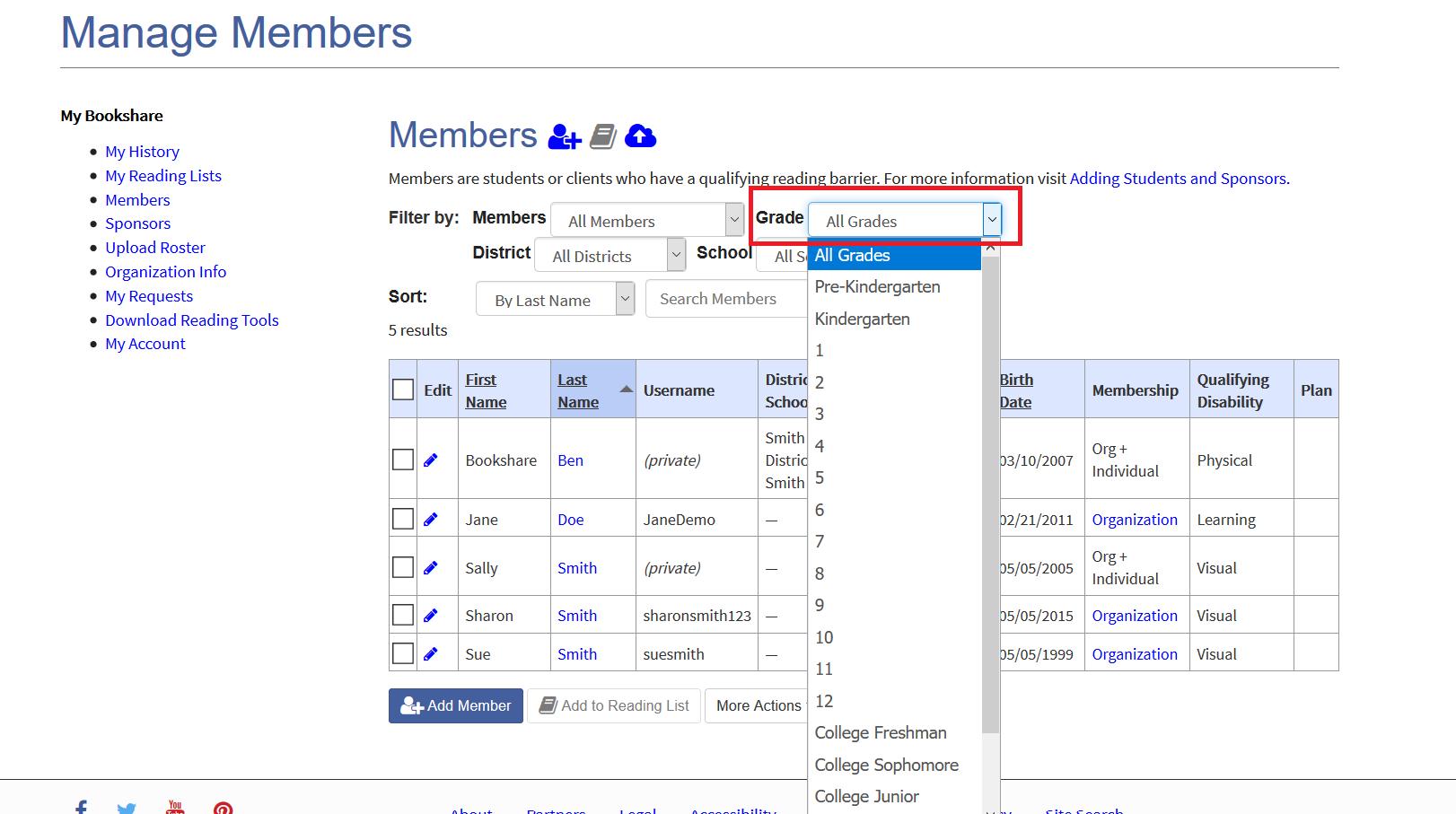 Screenshot of member roster filtered grade