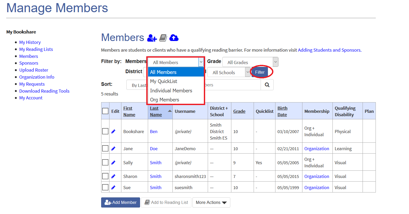 Screenshot of roster filtered by membership types