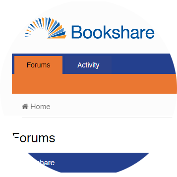 Screenshot of Bookshare Forum.