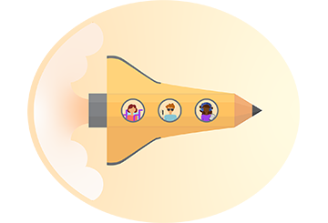 Launch into learning. Illustration of rocketship.