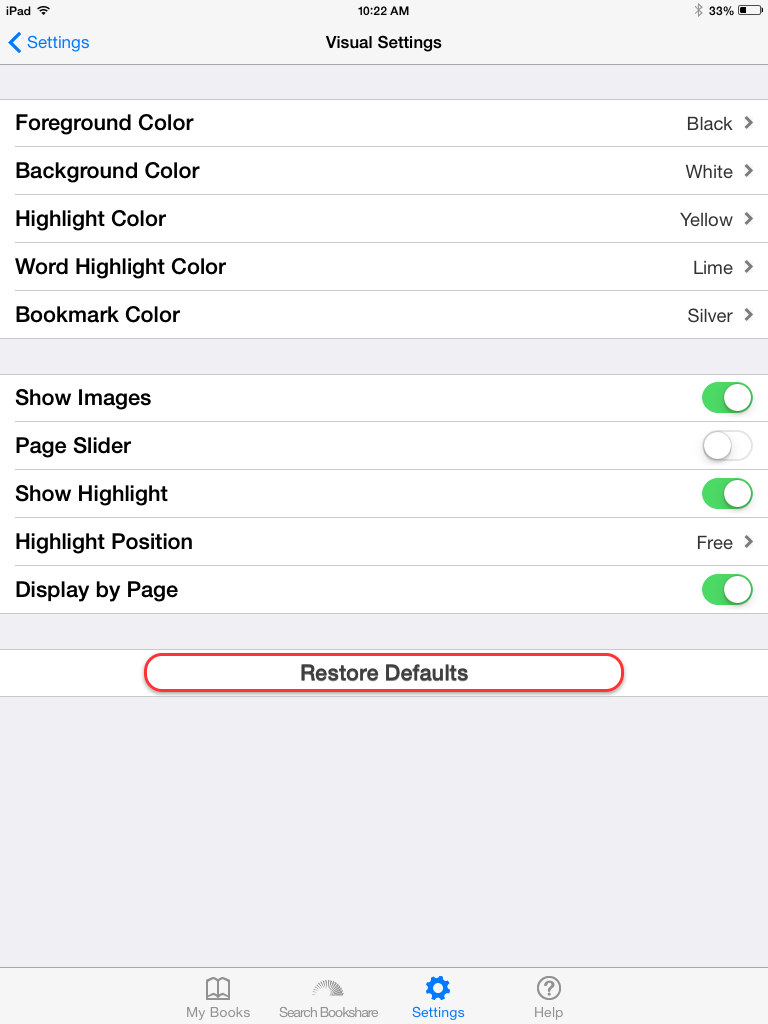 Screenshot of Visual Settings: Foreground Color, Background Color, Highlight Color, Word Highlight Color, Bookmark Color, Show Images, Page Slider, Show Highlight, Highlight Position, Display by Page, and Restore Defaults.