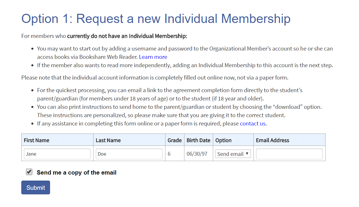 Option 1: request a new individual membership page with option circled and submit button circled