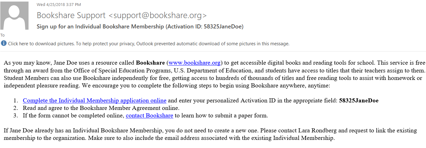 bookshare support email