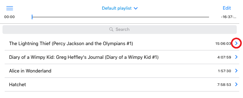 The Capti Playlist screen with the load content button highlighted.