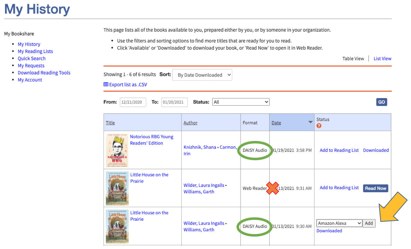 My History page showing how to add an audio file to a Reading List