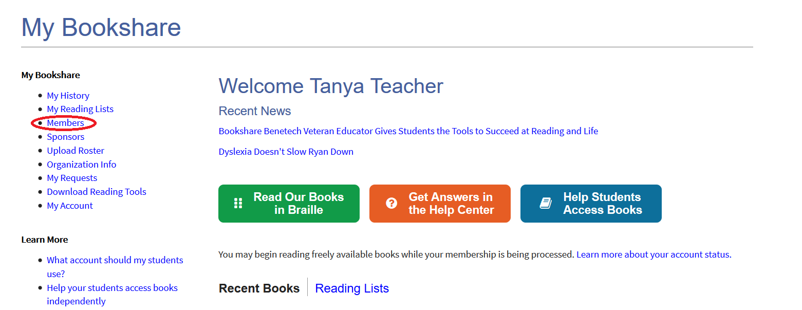 Screenshot of Sponsor's My Bookshare Page with Members link circled