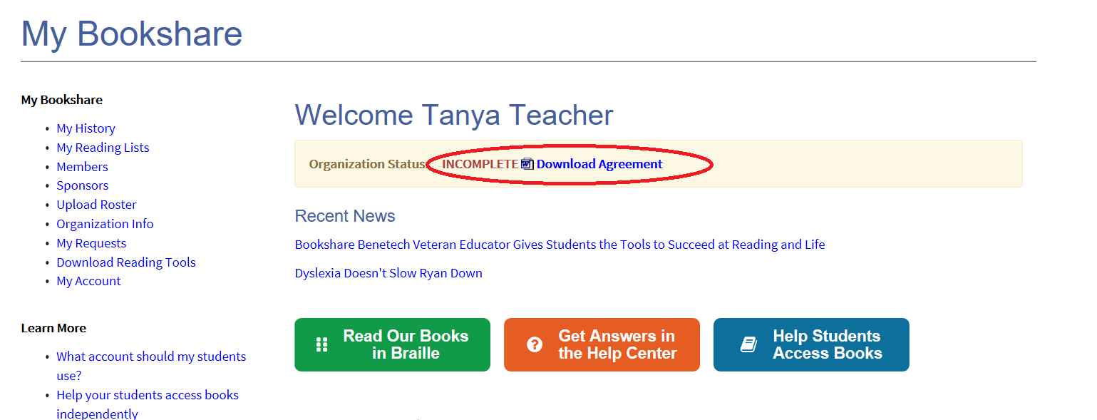 Screenshot of Sponsor's My Bookshare Page with Organization Agreement link circled