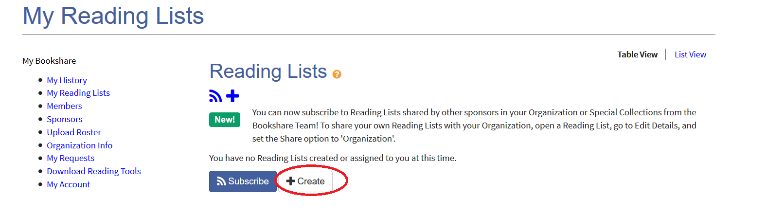 Screenshot of Create New Reading List button