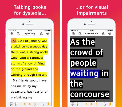 Previews of Easy Reader showing word- and sentence-level highlighting and of large print