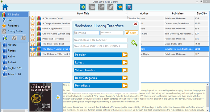 Open Lore Library page displaying the integrated Bookshare search and download functions